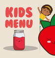 kids menu girl juice strawberry nutrition poster vector image vector image