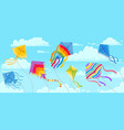 kites in sky summer blue skies and clouds with vector image vector image