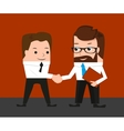 Lucky businessman is shaking hands with a vector image vector image