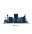 macau skyline monochrome silhouette vector image vector image