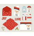 Merry christmas set printable greeting card cute vector image