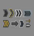 metal arrow set navigation signs collection vector image vector image
