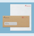 mock-up post envelope and letter paper template vector image vector image