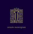 monogram with crown j vector image vector image