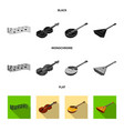 musical instrument black flat monochrome icons vector image vector image
