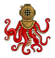 octopus and old diver helmet pop art vector image vector image