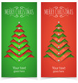 Paper cut out Christmas tree and text vector image