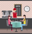 people coffee shop vector image