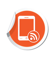 phone rss icon orange sticker vector image vector image