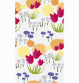 pink flower yellow meadow seamless pattern floral vector image