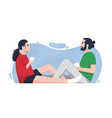 romantic partners sitting on floor and drinking vector image