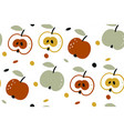 seamless pattern with apples isolated on vector image vector image
