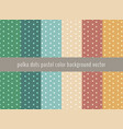 set of polka dots pattern on pastels green vector image vector image