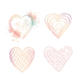 set ombre doodle hearts vector image vector image
