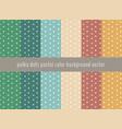set polka dots pattern on pastels green vector image