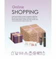 shopping online infographic gift boxes vector image vector image