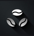 silver coffee beans icon isolated on black vector image vector image