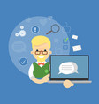 social media banner boy with laptop vector image
