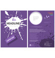 template of a purple leaflet with a splatter vector image vector image