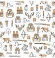 thin line art hunter seamless pattern vector image
