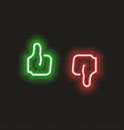 thumb up and down icon in neon style symbols vector image vector image