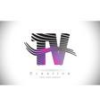 tv t v zebra texture letter logo design vector image vector image