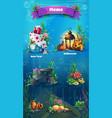 underwater item set vector image vector image