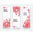 vertical heart social media banner set for vector image vector image