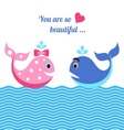Whales in love vector image vector image