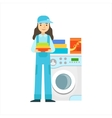 Woman Washing Clothing In Washing Machine vector image vector image