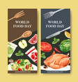 world food day flyer design with chicken vector image vector image