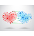 Couple of connected hearts vector image