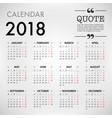 calendar for 2018 template design week starts vector image