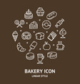 bakery sign round design template thin line icon vector image vector image