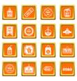 black friday icons set orange vector image vector image