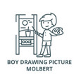 boy drawing picturemolbert line icon boy vector image vector image