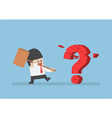 Businessman holding hammer breaking red question m vector image
