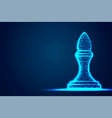 chess bishop wireframe polygon blue frame vector image vector image