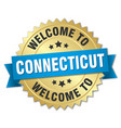 connecticut 3d gold badge with blue ribbon vector image vector image