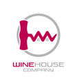 corkscrew wine house logo vector image vector image