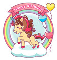cute unicorn happy birthday with balloons vector image