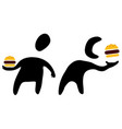 fast food eater silhouette symbols vector image vector image