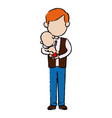 father and her baby together hugging vector image vector image