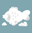 fish silhouette white fluffy clouds isolated vector image vector image