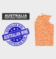 flame mosaic australian northern territory map and vector image vector image