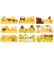 flat set of colorful desert landscapes with vector image vector image