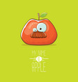 funny cartoon cute red apple character vector image vector image