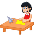 funny little girl cartoon playing folding paper vector image vector image