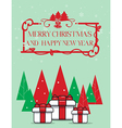 Gift box with christmas tree over Green background vector image vector image