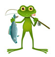 goggle-eyed frog fisherman vector image vector image